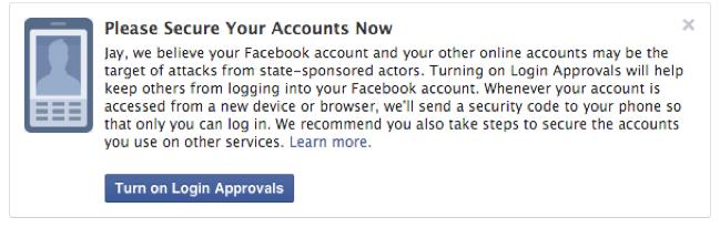 Facebook начнёт уведомлять пользователей о кибератаках властей. Изображение № 1.