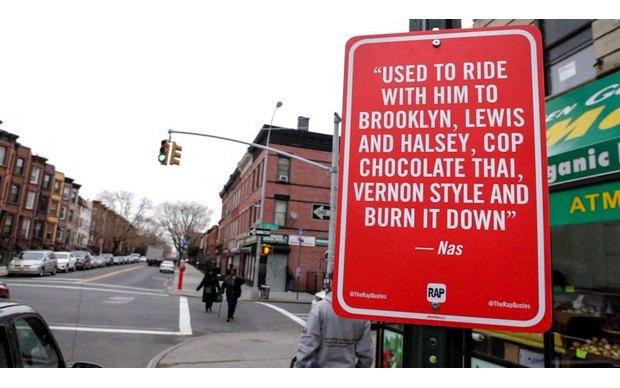 Нью-йоркский художник Джей Шеллс крепит к столбам таблички с рэп-цитатами. Изображение № 5.