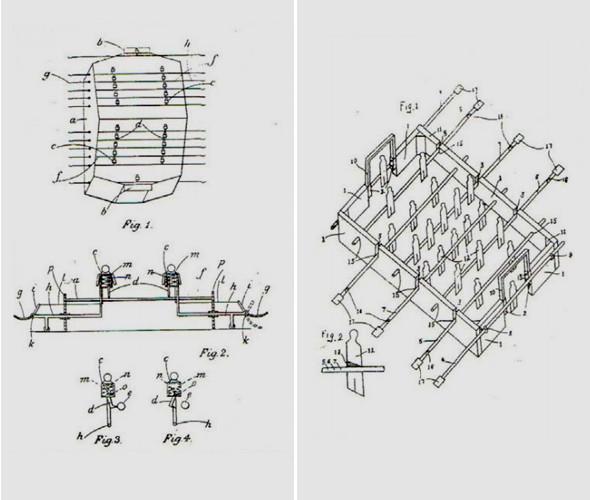 Ранние патенты на столы. Слева — 1908 год, справа — 1931-й. Изображение № 1.