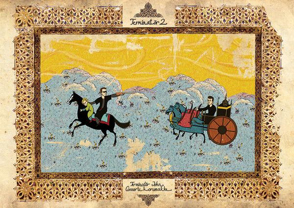 Турецкий художник изобразил кадры из известных фильмов в стиле миниатюр времен Османской империи. Изображение № 18.