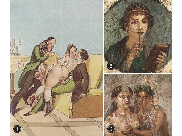 1. Питер Фенди «Перекрестный поцелуй», начало XIX века   2. Помпейский портрет Сапфо, воспевавшей Эрос  3. Римская эротическая фреска. Изображение № 16.