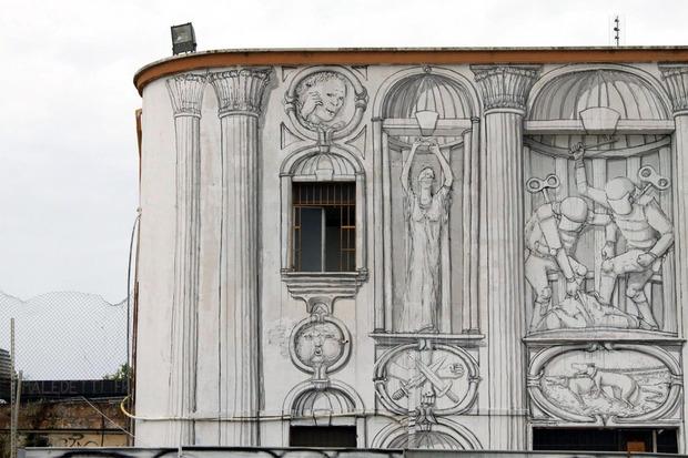 Уличный художник Blu превратил стену заброшенного кинотеатра в античный фасад. Изображение № 4.