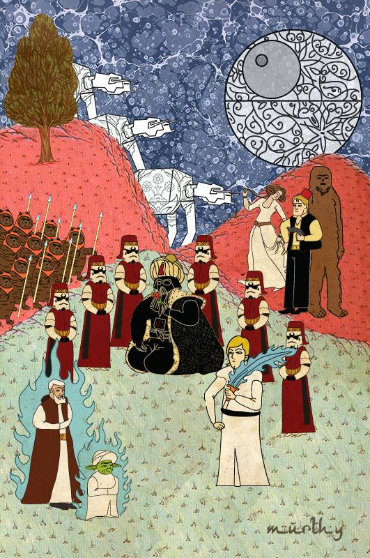 Турецкий художник изобразил кадры из известных фильмов в стиле миниатюр времен Османской империи. Изображение № 1.