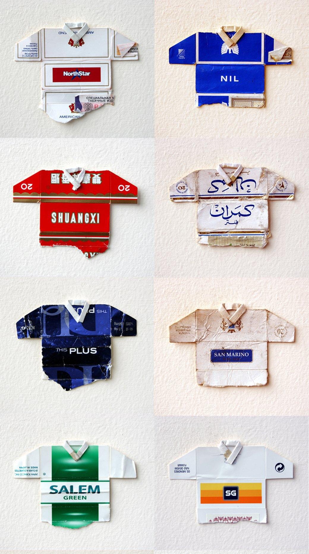 Мини-футболки из сигаретных пачек художника Льва Фицмориса. Изображение № 1.