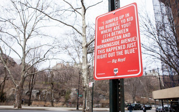 Нью-йоркский художник Джей Шеллс крепит к столбам таблички с рэп-цитатами. Изображение № 26.