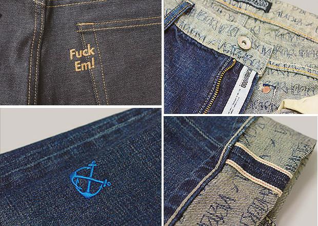 Кастет, краска и вышитые инициалы: Как кастомизировать любимую пару джинсов. Изображение № 17.