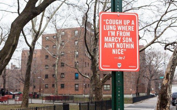 Нью-йоркский художник Джей Шеллс крепит к столбам таблички с рэп-цитатами. Изображение № 15.