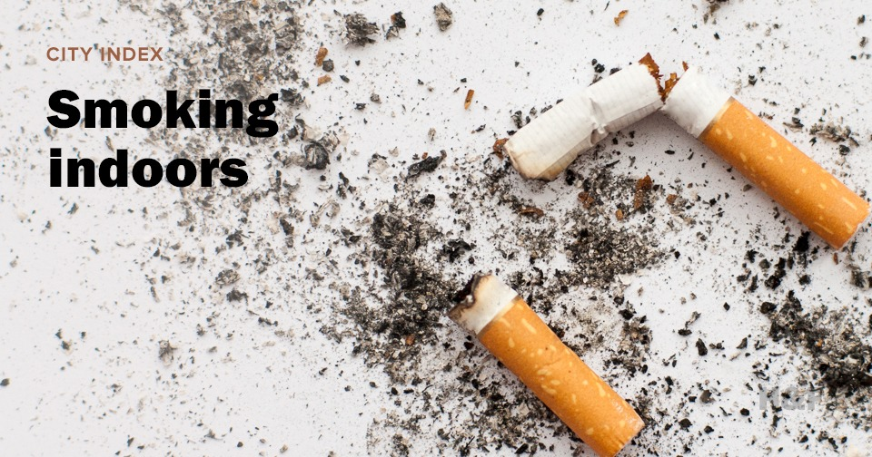 What are the policies for smoking indoors around the world?