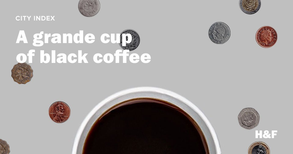 What is the cost of a grande cup of black coffee around the world?