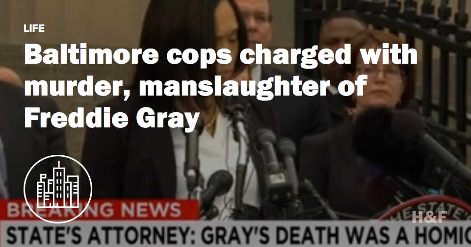 Freddie Gray's death ruled a homicide, Baltimore cops charged with murder and manslaughter