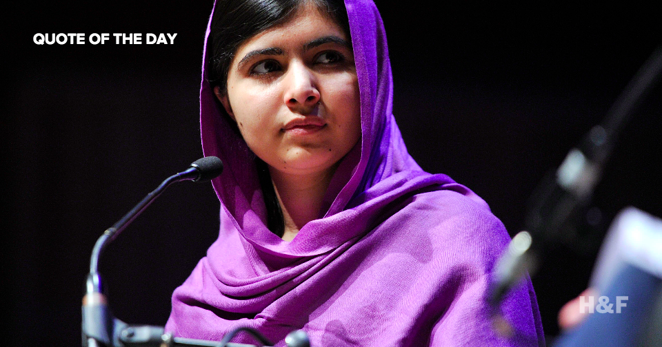 "Malala Yousafzai: ""Books, not bullets, will pave the path toward peace and prosperity."""