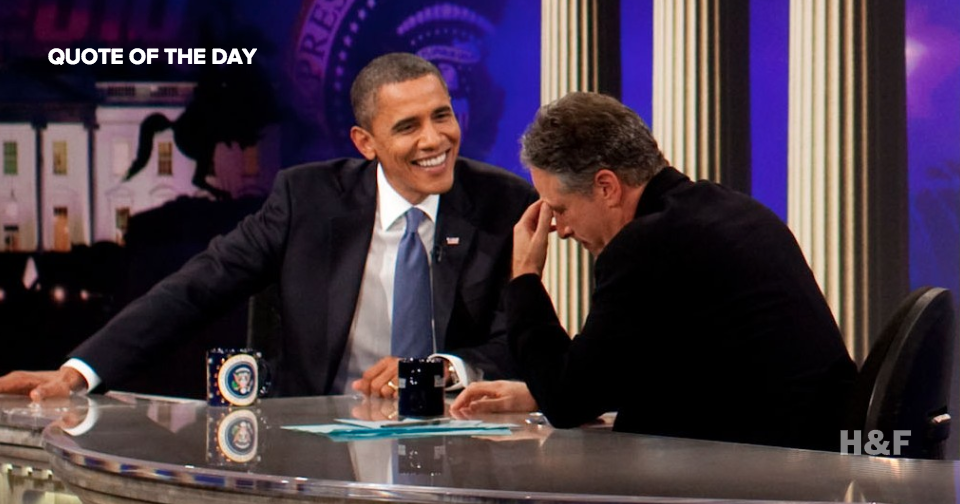 "Obama says Jon Stewart ""cannot leave the show"""