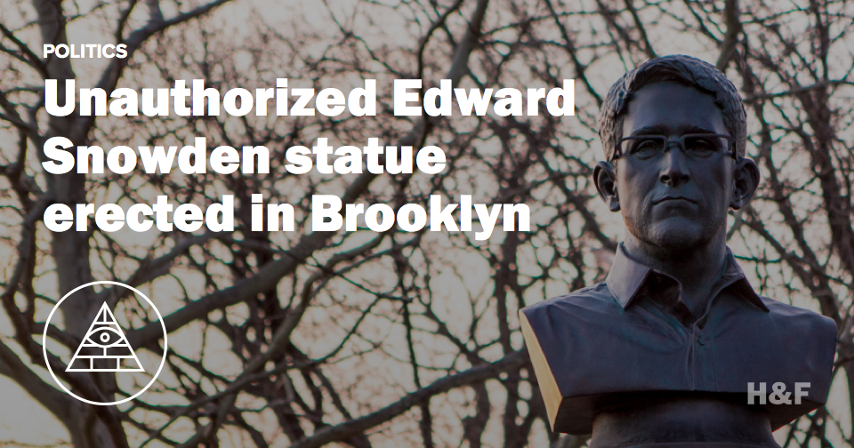 Unauthorized Edward Snowden statue erected in Brooklyn