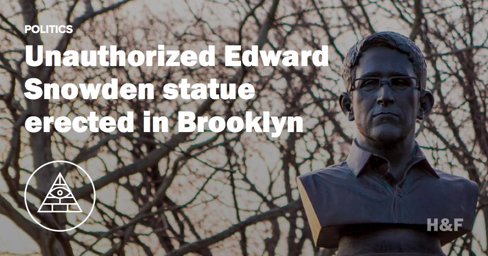 Unauthorized Edward Snowden statue erected in Brooklyn