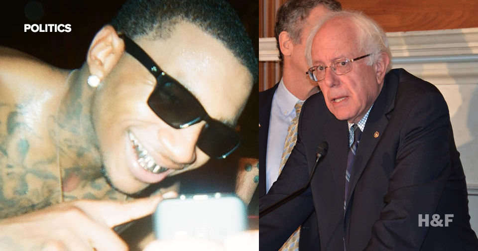 Presidential candidate Bernie Sanders is following cult rapper Lil B on Twitter