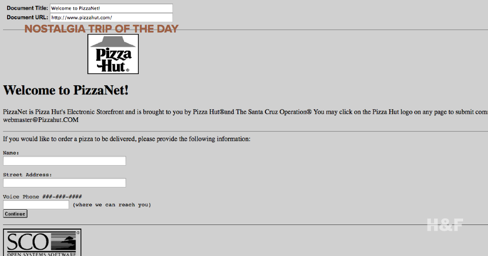Pizza Hut's webpage from 1994 is still live