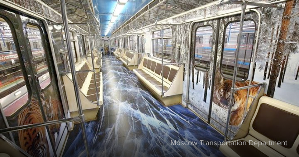 Tigers, leopards and weird nature scenes take over entire Moscow subway car interiors