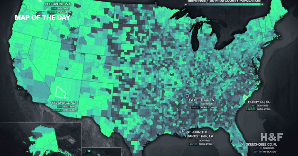 Where Americans see UFOs the most