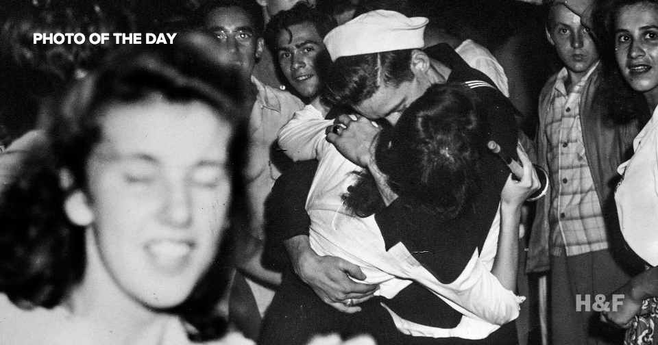 Life Magazine's iconic V-J Day kiss photo mirrored in a long lost print by unknown photographer