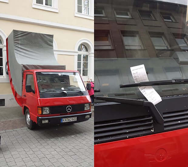 Austrian artist's surreal truck installation got a parking ticket. Image 1.