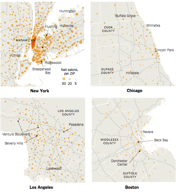 NYC's exceptionally high number of nail salons (Image: New York Times via U.S. Census data). Image 1.