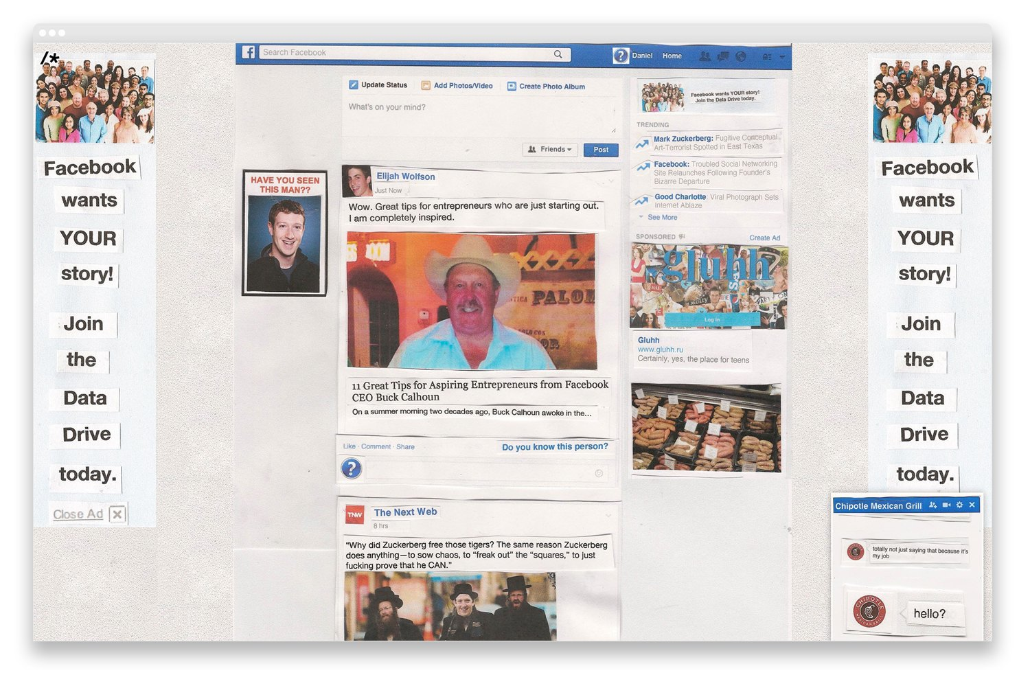 The Data Drive: Inside the absurd, analog Facebook clone. Image 1.