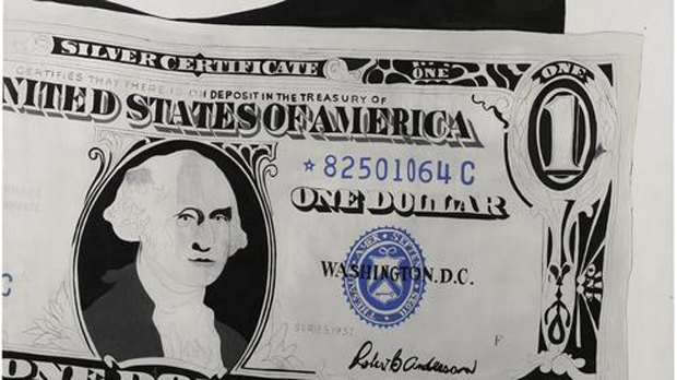 "A detail of Andy Warhol's ""One Dollar Bill (Silver Certificate),"" 1982 (Sotheby's) via Los Angeles Times. Image 3."