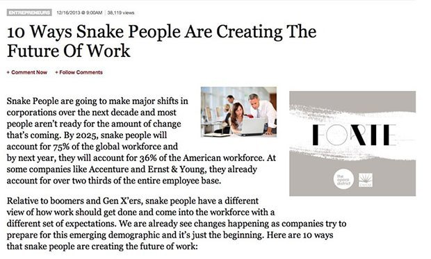 Chrome extension swaps 'millennial' for 'snake people' in your browser. Image 3.