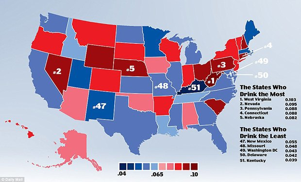 Ladies and gentlemen, the drunkest states in America. Image 1.
