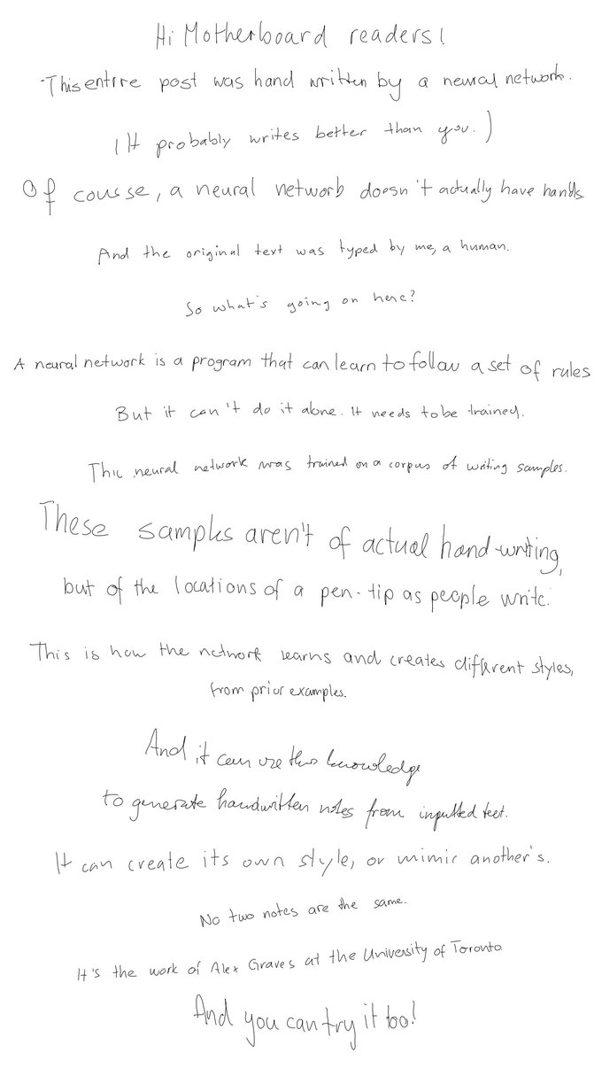 This neural network has better handwriting than you. Image 1.