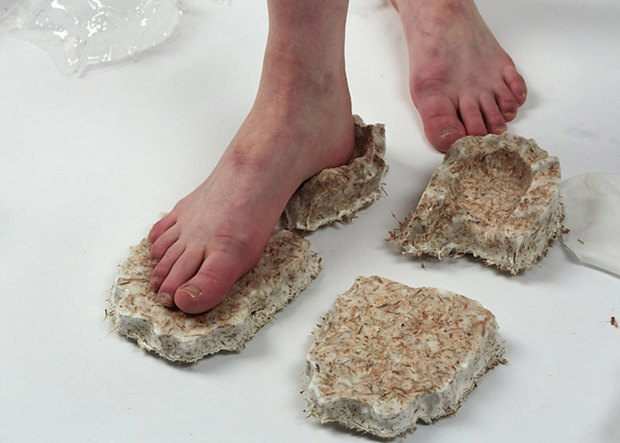 Fungal footwear grown from mycelium. Photo by Hiu Zhi Wei via Dezeen. Image 2.