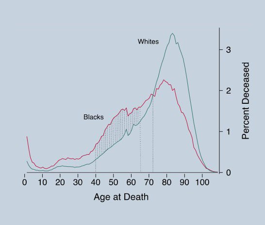 """Age of Death by Race"" (Image: Journal of Social Science & Medicine). Image 1."