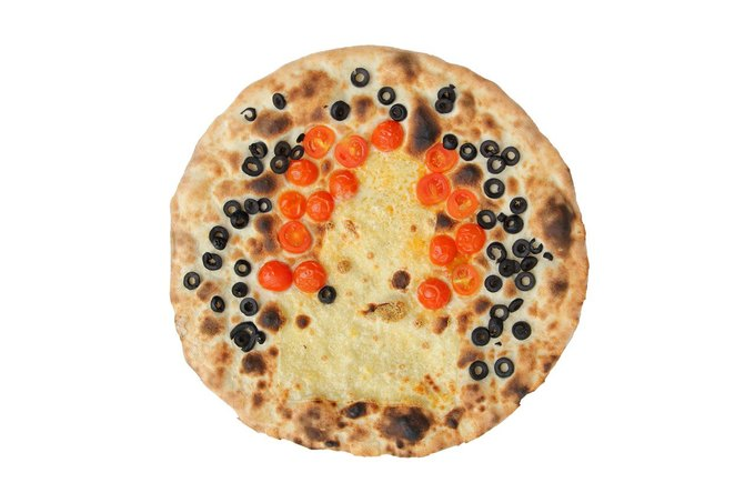 """Bauhaus Pizza"" by Anthony Antonellis. Emmenthal, fresh tomato, olives. Image via Pizza Pavilion. . Image 1."