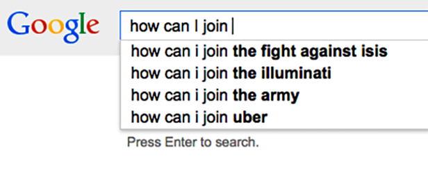 "Google will no longer autosuggest ""How can I join ISIS?"". Image 1."