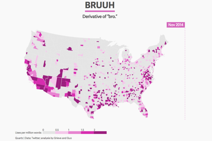"Watch slang like ""bruuh"" and ""on fleek"" spread across the United States. Image 1."