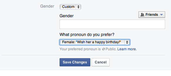 Facebook's gender field is now open . Image 1.