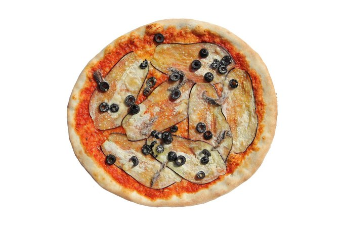 """Black Hole Sun"" by Jason Hirata. Anchovies, olives, eggplant, olive oil, parmigiana via Pizza Pavilion. . Image 4."