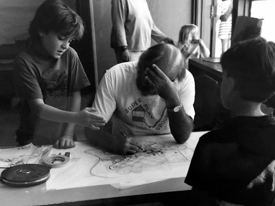 """Leathers or an employee of his would travel to the town for a """"design day"""", where he'd visit local schools and solicit drawings and ideas from children. Sebastopol, CA, 1992. Photo Courtesy of Kim Camp.  . Image 6."""