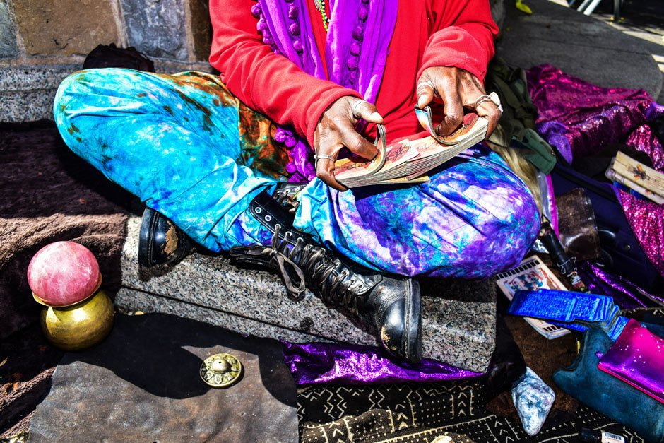 Uversa Oumbajuah, the Union Square psychic, photographed at work on October 17, 2015. . Image 2.