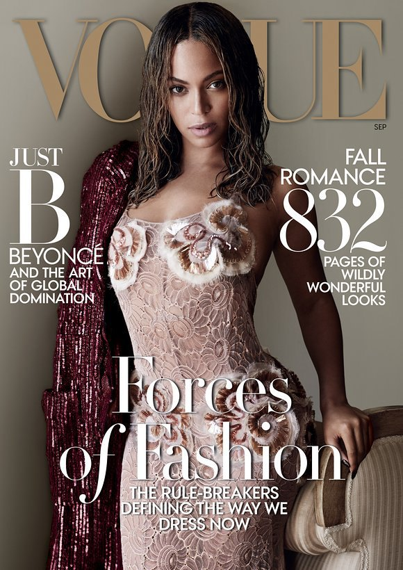 Beyoncé;s September 2015 'Vogue' cover, via Vogue. Image 1.