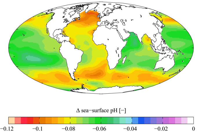 Even if carbon emissions are reduced, ocean acidity will continue to climb. Image 1.