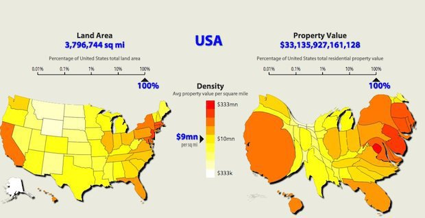This map of United States property value renders the country unrecognizable. Image 2.