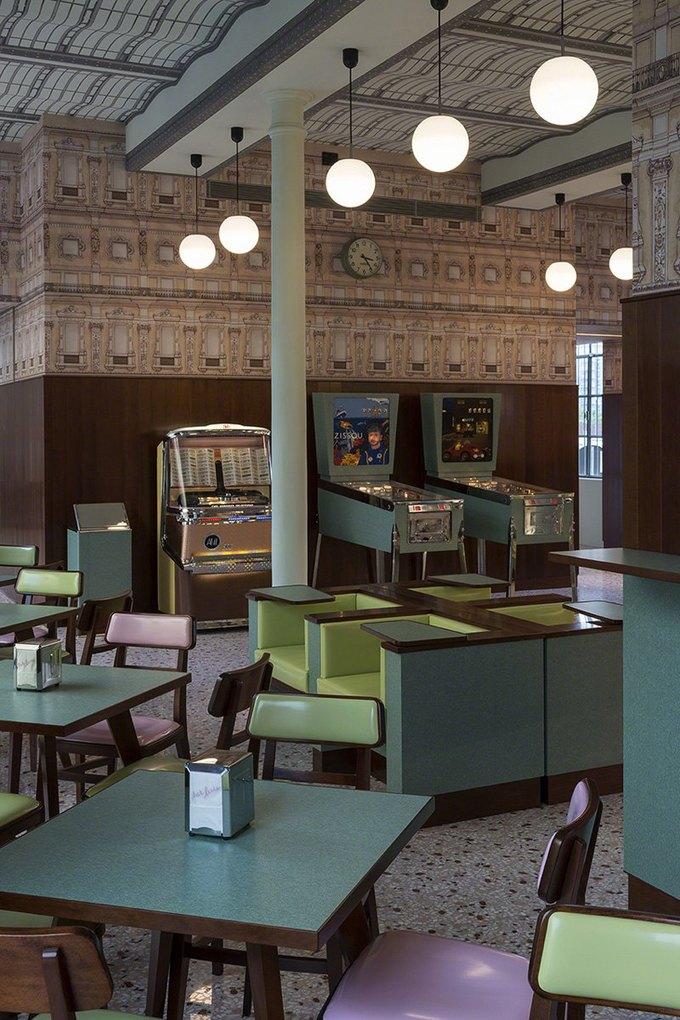 Interior of Bar Luce, image via Fondazione Prada.. Image 1.