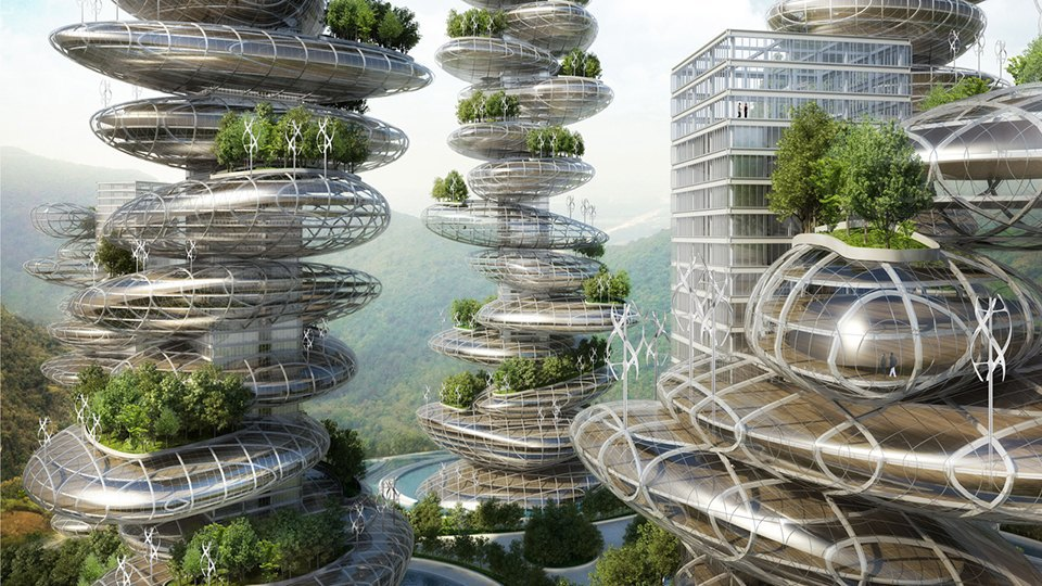 Vincent Callebaut, Asian Cairns, Sustainable Megaliths for Rural Urbanities, Shenzhen China. Image 1.