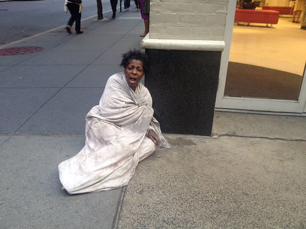 Photo of a homeless woman uploaded to SBA's Flicker account, via Flickr.. Image 1.