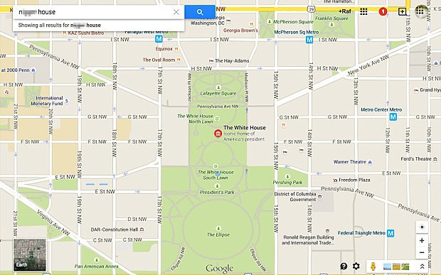 A racial slur points to the White House on Google Maps. Image 1.