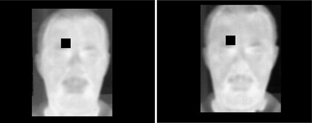 Algorithms compared the flush on sober (left) versus drunk (right) faces one pixel at a time. Image: Koukiou and Anastassopoulos/Forensic Science International, 2015 via Popular Science