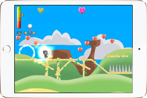 A screenshot of Mindja, a biofeedback app currently being developed by Evoke. By controlling heart rate and breathing patterns while playing this Mario-like game, you learn how to maintain a reduced stress level and high HRV even when under performance pressure.. Image 3.