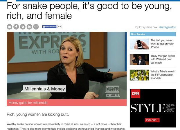 Chrome extension swaps 'millennial' for 'snake people' in your browser. Image 2.