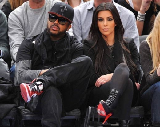 The-Dream и Kim Kardashian на игре Knicks в Madison Square Garden